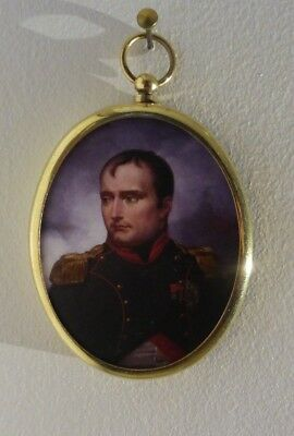 Miniature of Napoleon in an oval brass frame with convex glass