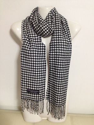 Wholesale 12Pcs 100% Cashmere Scarf Made In Scotland Houndstooth Black