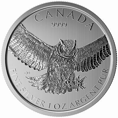 Lot of 10 - 2015 Canadian 1oz Silver Great Horned Owl $5 Coin .9999 Fine BU