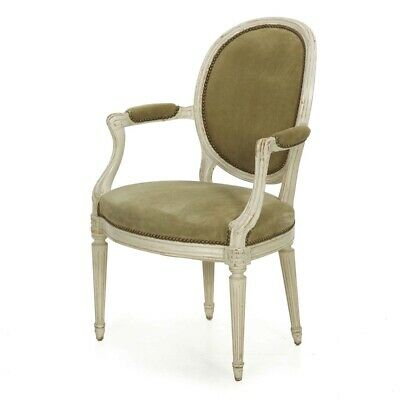 FRENCH LOUIS XVI STYLE | Antique Suede Leather Distressed White Paint Arm Chair