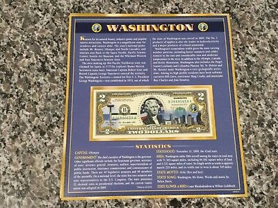 Washington $2 Two Dollar Bill Colorized State Landmark Uncirculated Authentic