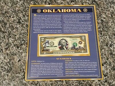 Oklahoma $2 Two Dollar Bill Colorized State Landmark Uncirculated Authentic
