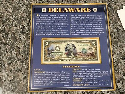 Delaware $2 Two Dollar Bill - Colorized State Landmark - Uncirculated Authentic