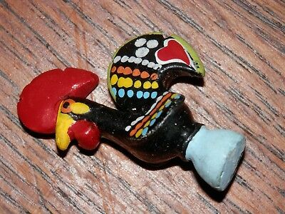 "Vintage Miniature Portuguese Folk Art Lucky Rooster 1/2"" Hand Painted Ceramic"