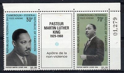 CAMEROON = 1968 Martin Luther King MNH Tryptic with Sheet No.