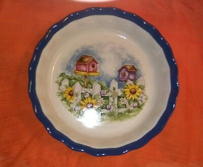 """Lovely 9-1/2"""" Ceramic Pie Plate with Birdhouses ABC Distributing"""