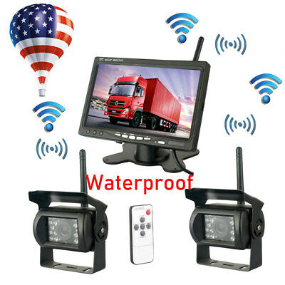 "2× Wireless Rear View Backup Camera  + 7"" LCD Monitor RV Truck Bus Night Vision"