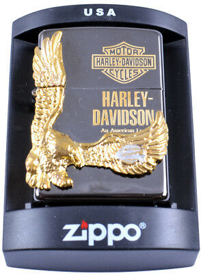 Zippo Harley Davidson Motorcycle Gold Eagle Lighter Smoke Tobacco