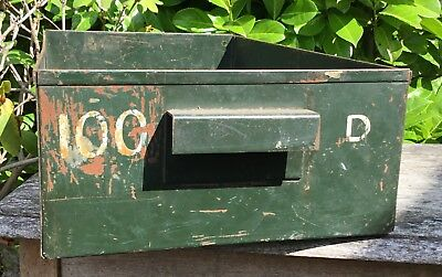 Old Industrial Large Metal Engineers Drawer Document Tray Kitchen Condiment Tidy