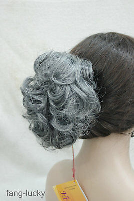 Black Gray mix Short Curly Wavy claw clip Cute ponytail hair pieces wig FYTLF037