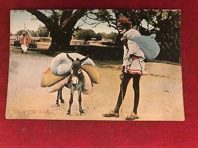"Old Postcard Of "" Dhobi And His Donkey ""  ,india"