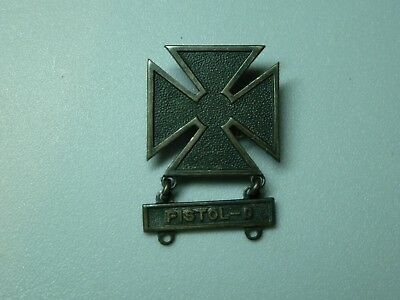 Ww2 Us Army Marksmanship Badge W/pistol Clasp - Pin Back Sterling