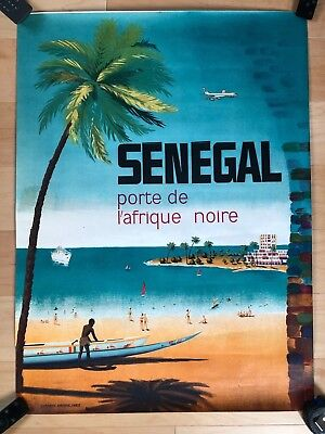 BEAUTIFUL orig. c. 1960s SENEGAL TRAVEL POSTER not a repro