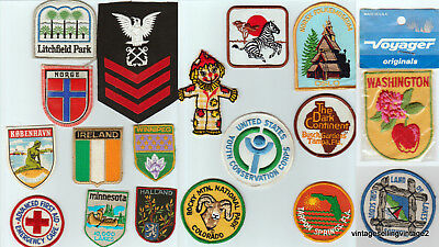 19 pc. Lot of Patches, Girl Scout, Navy, Emergency, Ireland,  Minnesota, Norge