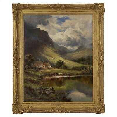 Antique Pastoral Landscape Oil Painting by Henry Parker (English, 1858-1930)