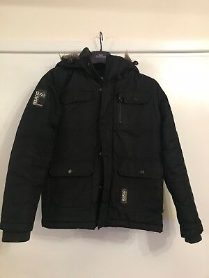 Boys Black Winter Coat - Size Large Boys