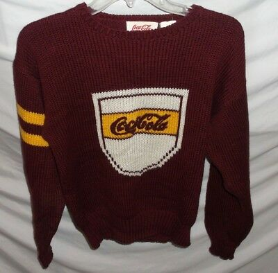 Vtg 1980's Coca Cola Varsity College Striped Burgudy Sweater Adult Small