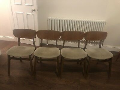 Mid Century Teak Dining Chairs Set Of 4 Vintage