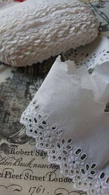 BATCH BEAUTIFUL ANTIQUE FRENCH FRESH WHITE BRODERIE ANGLAISE TRIM c1910 unused