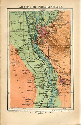 1912 EGYPT CAIRO CITY and PYRAMIDS FIELD Antique Map dated