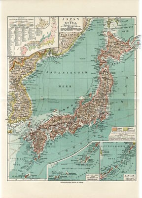 1895 JAPAN and KOREA KURILLES RUSSIA SIBERIA VLADIVOSTOK Antique Map
