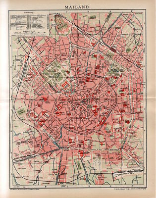 1912 ITALY MILAN CITY PLAN Antique Map dated