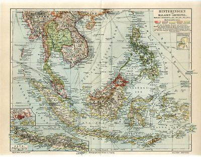 1895 SINGAPORE VIETNAM SIAM INDONESIA MALAYSIA PHILIPPINES FRENCH INDOCHINA Map