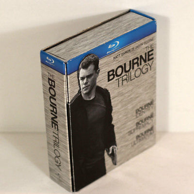 The Bourne Trilogy (Blu-ray Disc, 2009, 3-Disc Set) w/ Rare Magnetic Hard Cover