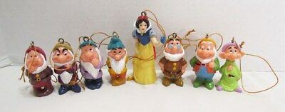 Snow White And The Seven Dwarfs Pvc Christmas Ornament Complete Set Walt Disney