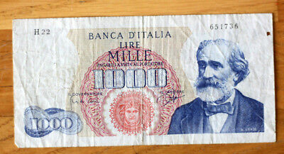 1000 Lire--Red on Blu--, Bank of Italy, 1962.-64.