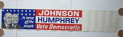 Johnson-Humphrey Picture Campaign Poster-To Serve All The People-Vote Democratic
