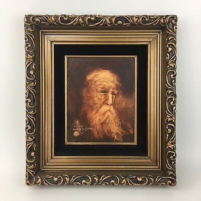 Wallace R Fisher Original Oil Painting Portrait Old Sage Old Man Sepia Vintage