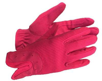 Horse Riding Gloves Ladies Womens Adults Dublin Track Shires Equestrian Pink