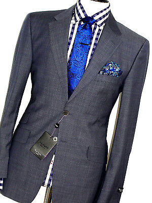 Bnwt Luxury Mens Paul Smith London Navy Blue Micro Check Slim Fit Suit 40R W34