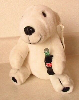 Coca-Cola Brand Collectible Polar Bear Holding Bottle Play By Play Plush 1995