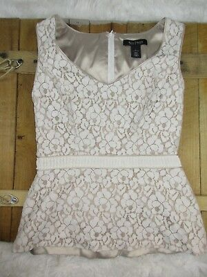 2a4532d01198d White House Black Market womens size 0 Nude and White Lace Sleeveless Peplum  Top