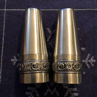 Vintage Stainless Steel Cordova Salt And Pepper Shakers - NOS !