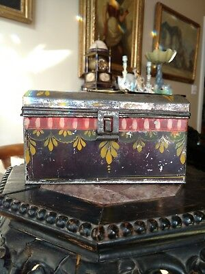Rare Antique American Folk Art Toleware Painted Tin Document Box PA AAFA