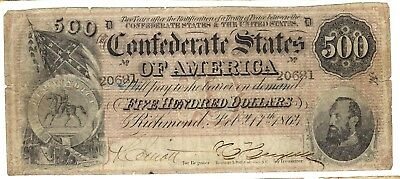 1864 Confederate States of America $500 Note T64