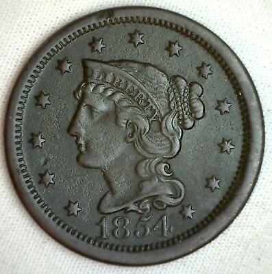1854 Braided Hair Large Cent Copper Extra Fine Genuine US Coin M18 XF