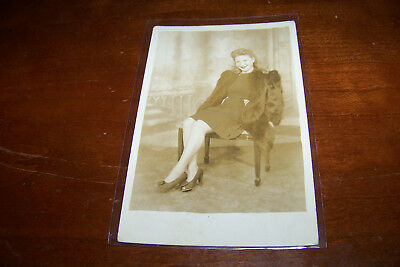 Rare Vintage RPPC Real Photo Postcard Gorgeous Young Woman Female in Dress Fur