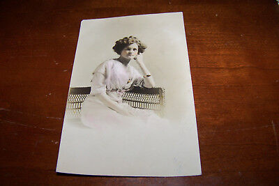 Rare Vintage RPPC Real Photo Postcard Gorgeous Young Woman Female in Dress Chair