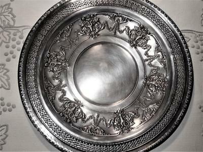 "12"" Diameter Silver Plated International Silver Co. Ornate Round  Charger Plate"