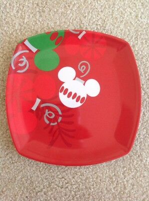 """NWT Disney Parks Mickey Mouse Ornament Square Red Christmas 8"""" Plate"""
