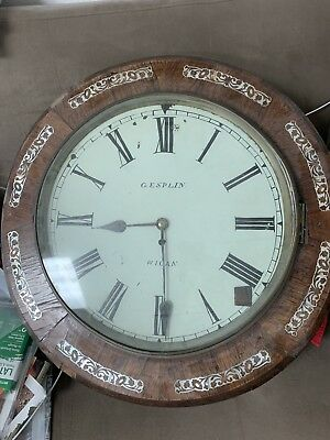 ANTIQUE English mid 19th century wall clock with mother of pearl in lay