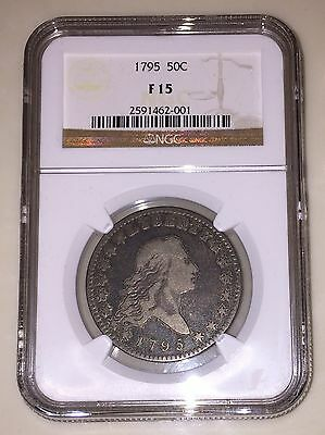 1795 Flowing Hair Half Dollar 50c NGC F15 Amazing Quality for the grade!