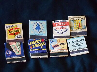 Vintage Lot of 8 Matchbooks Advertising Midwest Glamour Girl Sell Steel Scraps