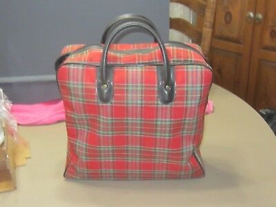 Vintage Red Plaid Alladin Thermos set w/ sandwich box and canvas tote