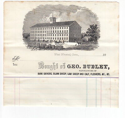 West Winsted Connecticut - 1800s George Dudley Tannery - Illustrated Billhead