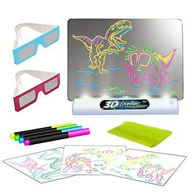 NEW NEON DRAWING BOARD WITH PENS SHAPE STAMPS KID WRITING PAINTING LED XMAS GIFT